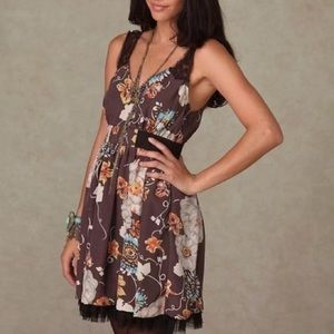 Free People Brown Floral Dress Tulle Hem Lace Sz 0